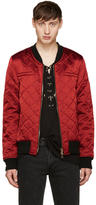 Balmain Red Logo Patch Bomber Jacket