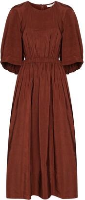 Tibi Gemma shirred waist cape dress