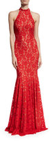 Jovani Sleeveless Beaded Lace Mermaid Gown, Red