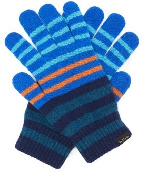 Paul Smith Logo-label Striped-wool Gloves - Blue Multi