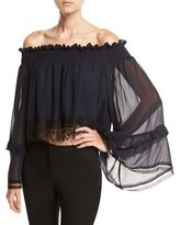 Nicholas Georgette Ruffle Off-the-Shoulder Top with Lace Trim, Navy