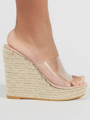 Public Desire Pacha Clear Plastic Wedge Sandals - Nude