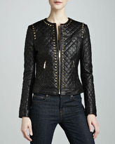 Neiman Marcus Golden Studded Quilted Leather Jacket