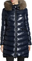 Moncler Shiny Quilted Down Coat w/Fox Fur Hood