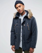 Farah Hooded Parka Coat With Faux Fur Trim Hood