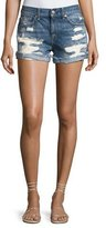 7 For All Mankind Raw-Cuffed Shorts W Aggressive Destroy, Indigo