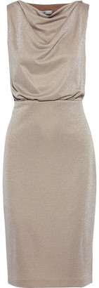 Badgley Mischka Cutout Draped Metallic Jersey Dress