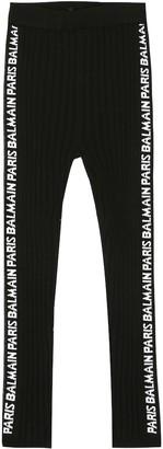 Balmain Kids Logo ribbed-knit leggings