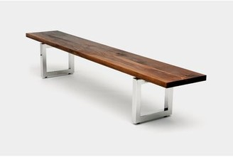 """Artless Gax Wood Bench Size: 18"""" H x 84"""" W x 16"""" D, Color: Polished Brass"""