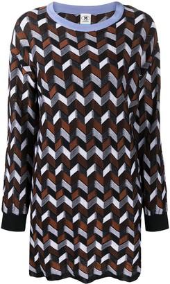 M Missoni Long-Sleeved Geometric Knit Dress
