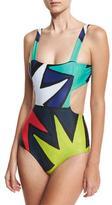 Mara Hoffman Cutout-Side One-Piece Swimsuit, Multicolor