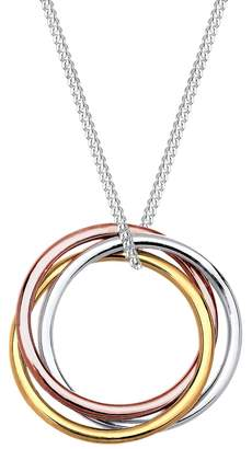 Elli Women's 925 Sterling Silver Gold plated Rose Gold Trio Circle of Life Pendant Necklace - 45cm length