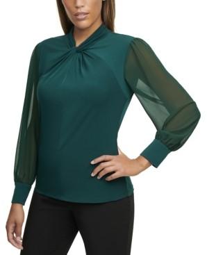 Calvin Klein Size Twist-Neck Chiffon-Sleeve Top