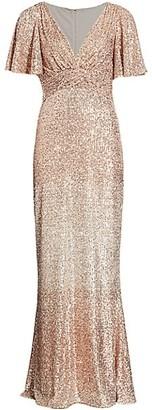 Teri Jon by Rickie Freeman Sequin Flutter-Sleeve Column Gown