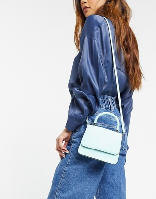 Who What Wear Casey mini bag with cross body strap in bleached aqua