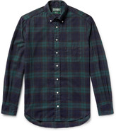 Gitman Brothers Button-Down Collar Black Watch Checked Brushed-Cotton Flannel Shirt