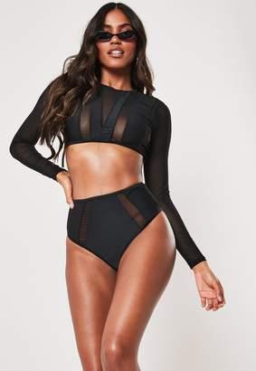 Missguided Black Mesh Insert Long Sleeve High Waist Bikini Set