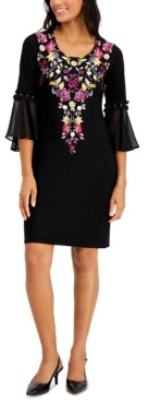 JM Collection Petite Embroidered Dress, Created for Macy's