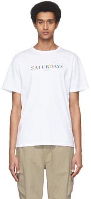 Saturdays NYC White Color Stencil T-Shirt