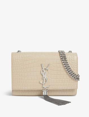 Saint Laurent Kate small tasselled crocodile-embossed leather shoulder bag