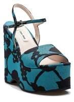 Miu Miu Women's Fabric Floral Pattern Adjustable Strap High Heel Platform Shoes Turquoise.