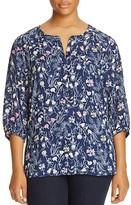 NYDJ Plus Floral Print Pleat Back Blouse