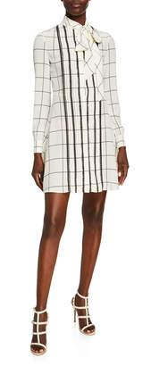 Valentino Long-Sleeve Windowpane Tie-Neck Shirtdress, White/Black