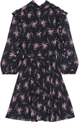 ML Monique Lhuillier Crochet-trimmed Pleated Floral-print Chiffon Mini Dress