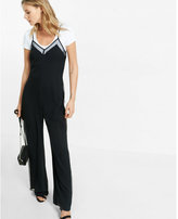 Express dotted mesh side stripe jumpsuit