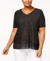 NY Collection Plus Size Metallic V-Neck Top