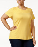 Karen Scott Plus Size Lace-Yoke Cotton T-Shirt, Only at Macy's