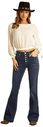 Rock and Roll Cowgirl High-Rise Trousers with Full Button Clouser in Dark Vintage W8H6098 (Dark Vintage) Women's Jeans