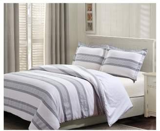 Hudson Style Quarters Blue Stripe Duvet Cover Set 3pc
