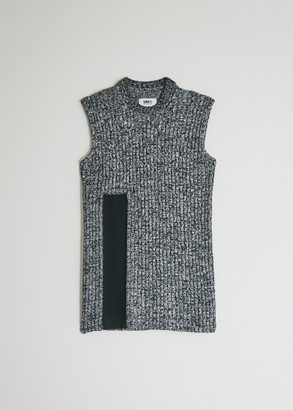 MM6 MAISON MARGIELA Women's Military Sweater Vest in Black, Size Extra Small | Cotton/Wool/Acrylic