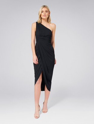Forever New Mandy One-Shoulder Drape Maxi Dress - Black - 4