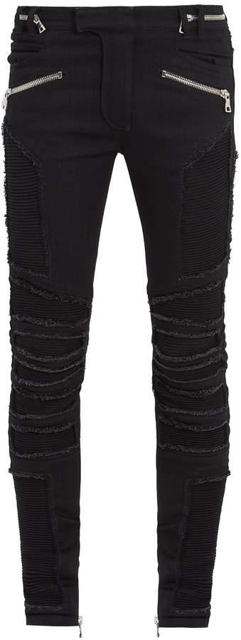 Balmain Distressed mid-rise skinny biker jeans