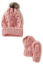 Starting Out Baby Girls Knit Faux-Fur Pom Hat & Mittens Set