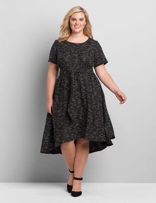 Lane Bryant Textured High-Low Fit & Flare Dress With Tie Waist