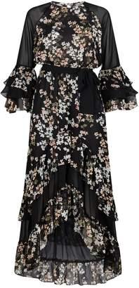 MISA Los Angeles Kateri Floral Ruffle Midi Dress