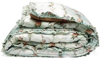 Preen by Thornton Bregazzi Bi-colour Floral-print Satin Eiderdown - Womens - Light Blue