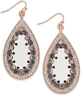 INC International Concepts Rose Gold-Tone Crystal-Edged Teardrop Earrings, Only at Macy's