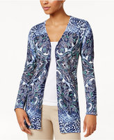 JM Collection Printed Open-Front Cardigan, Only at Macy's