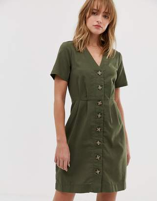 Only button through mini dress-Green