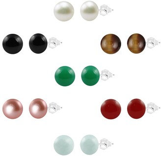 Colorstar Sterling Silver 8-8.5mm Freshwater Cultured Round Button Pearl and Round Gemstone Bead 7-Piece Box Set
