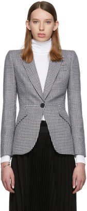 Alexander McQueen Black and White Houndstooth Wool Prince of Wales Blazer