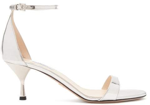 cfb1802e53f Mirrored Leather Kitten Heel Sandals - Womens - Silver