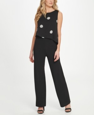 DKNY Sleeveless Jumpsuit W/Chiffon Overlay