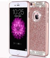 iPhone 7 Case,ARSUE (TM) Luxury Hybrid Beauty Crystal Rhinestone With Gold Sparkle Glitter PC Hard Protective Diamond Case Cover For iPhone 7 [4.7inch] (Rose Gold / Bling)