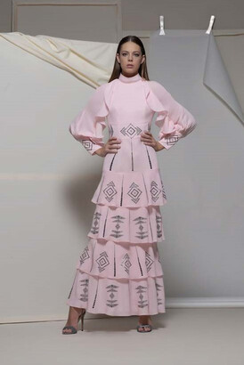 Isabel Sanchis Arco Long Sleeve Tiered Gown