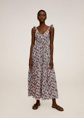 MANGO Floral print long dress red - 4 - Women
